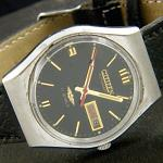 Reloj Citizen Automatic cuerda manual 21 Jewel negro vintage