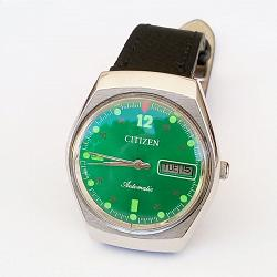 Reloj Citizen Automatic cuerda manual 21 Jewel verde vintage 1