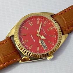 Reloj Citizen Automatic cuerda manual 21 Jewel rojo vintage 1