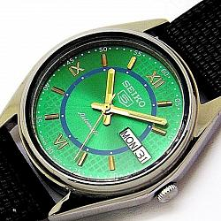 Reloj Seiko 5 Automatic cuerda manual 17 Jewel verde vintage 1
